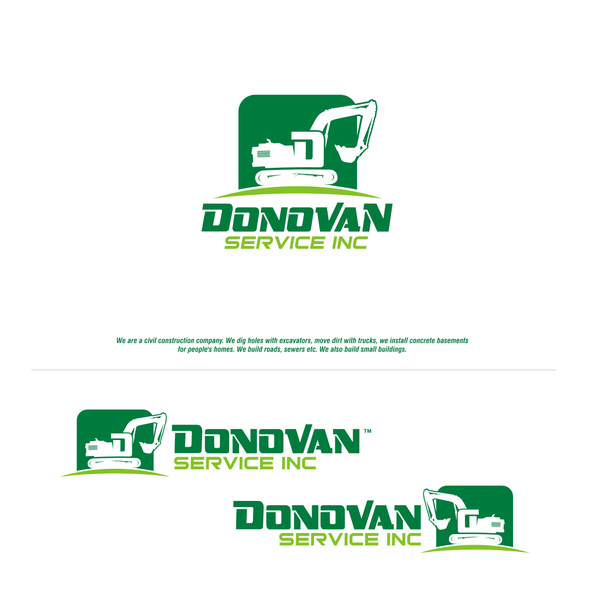 Excavator logo with the title 'Help a young construction company identify itself in an aged industry'