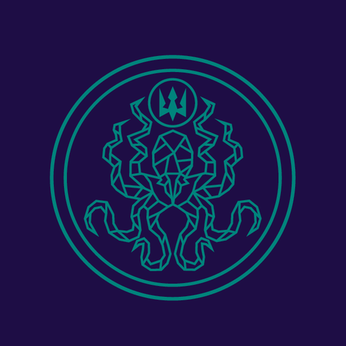 Neptune logo with the title 'Island Saltworks Logo Winner'