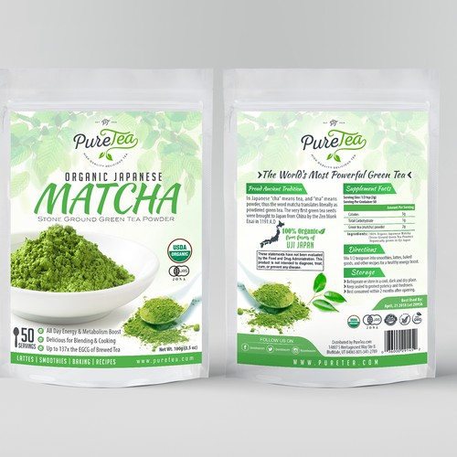 Tea packaging with the title 'Pure Tea packaging design'
