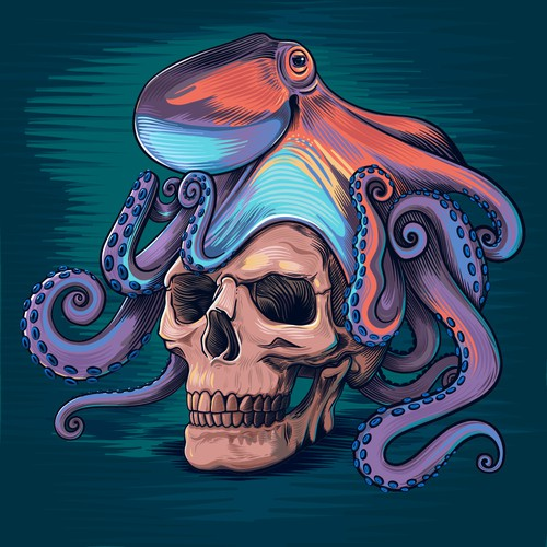 Vector design with the title 'Octopus skull illustration'