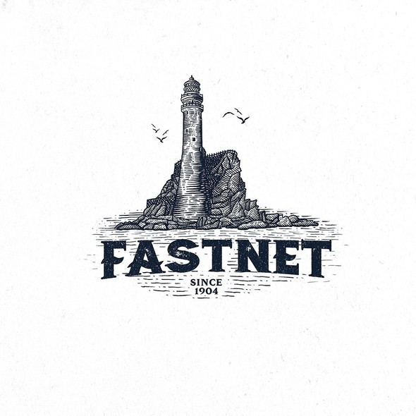 Linocut design with the title 'Fastnet Rock Lighthouse'