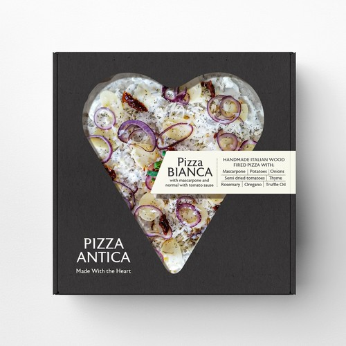 Black packaging with the title 'Handmade pizzas for retail'