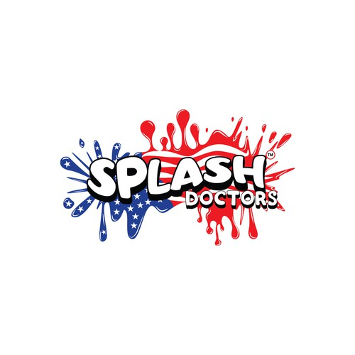 American flag logo with the title 'Splash Doctors'