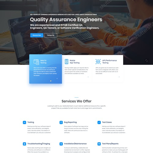 White background design with the title 'Software Testing Landingpage'