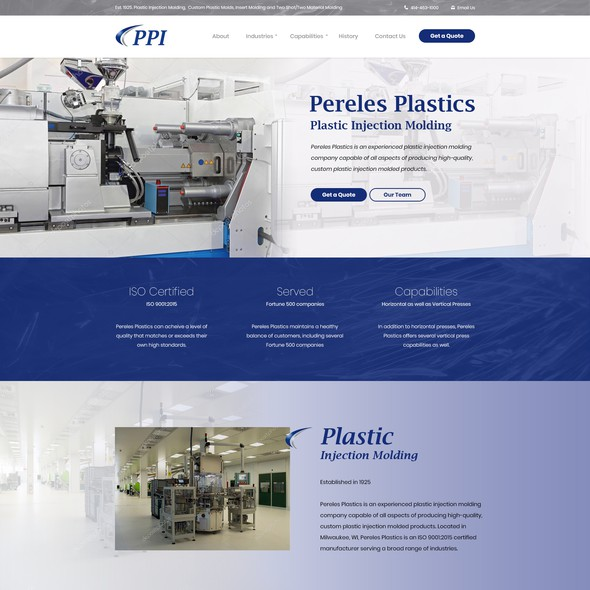 Engineering website with the title 'Website Design for Plastic Injection Molding Company in Milwaukee'