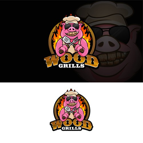 BBQ logo with the title 'logo and mascot design for wood grills'