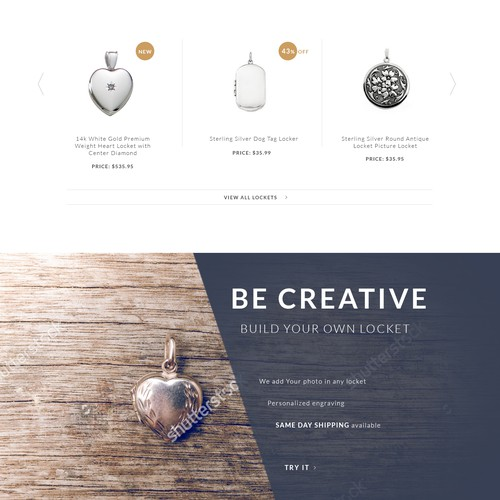 Jewelry website with the title 'Web design concept'