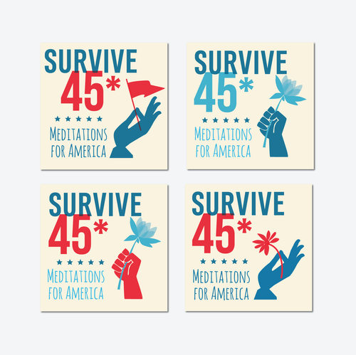 Red and blue design with the title 'Design Iconic Logo for 'Survive 45' Anti-Trump Mediation Podcast'