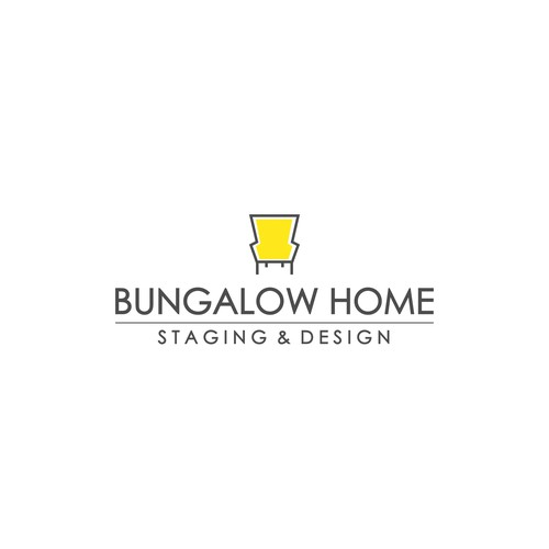 Yellow and gray design with the title 'Logo Design For Bungalow Home'