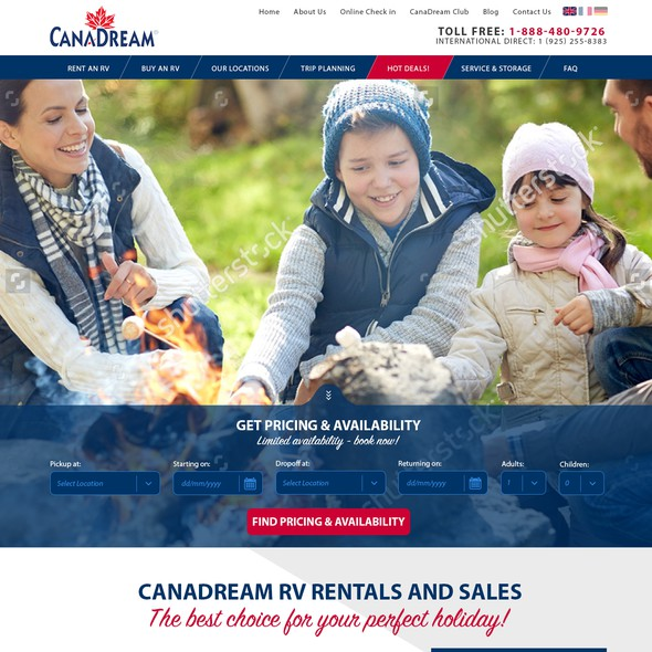 Vacation website with the title 'Canadian Tourism Website'