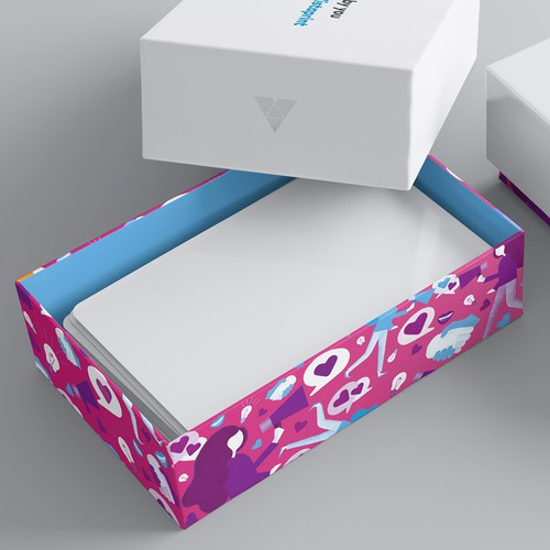 Packaging illustration with the title 'Illustration for Vistaprint's premium biz card boxes'