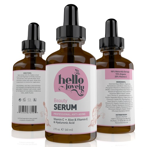 Vitamin design with the title 'Hello Lovely label'