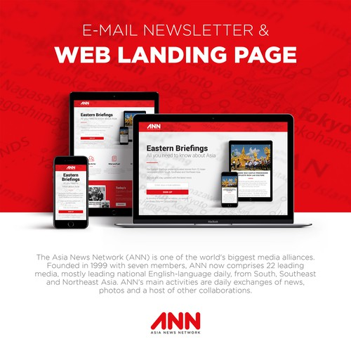 Asian design with the title 'E-mail Newsletter & Web Landing Page'
