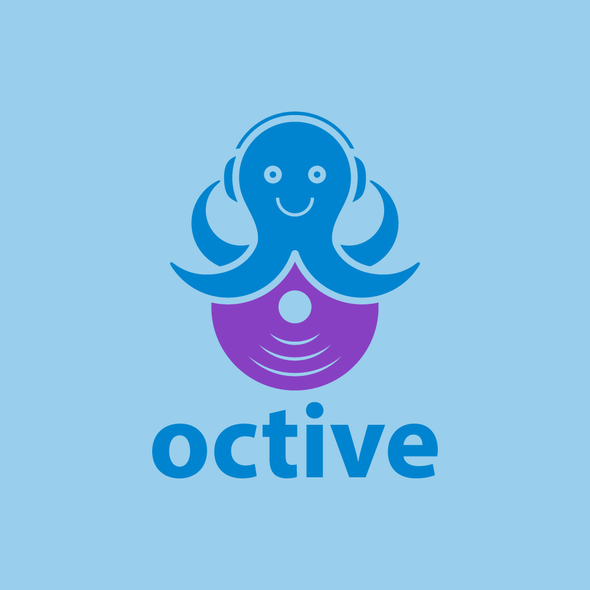 Headphone logo with the title 'octopus with a musical theme'