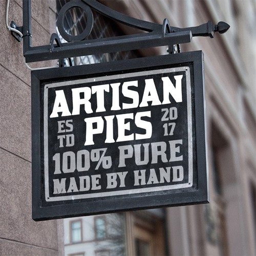 Handmade design with the title 'logo for Artisan Pies made by hand'