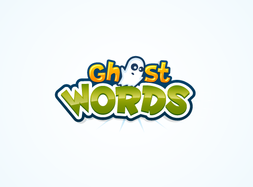 Wordmark logo with the title 'Ghost Words Logo Design'