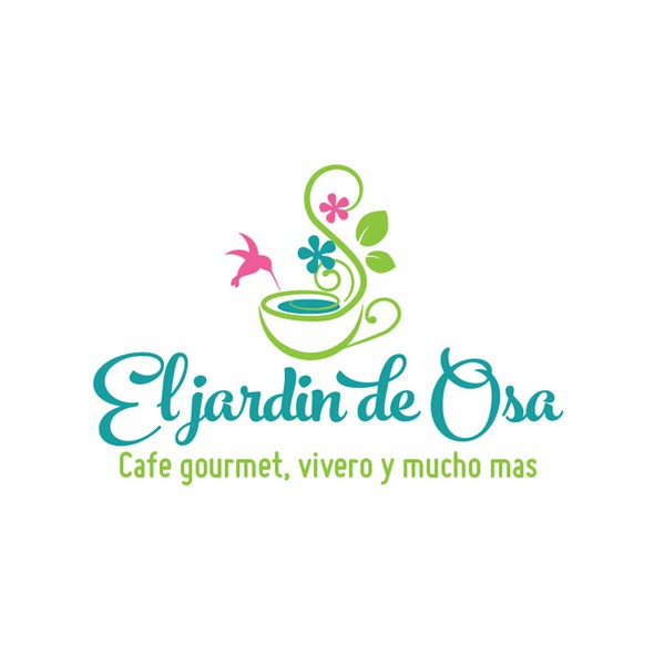 Coffee shop design with the title 'logo for a Coffee shop - Florist in Costa Rica  which offers french pastries, fruit juices and snacks in a garden where the plants and flowers are for sale.'
