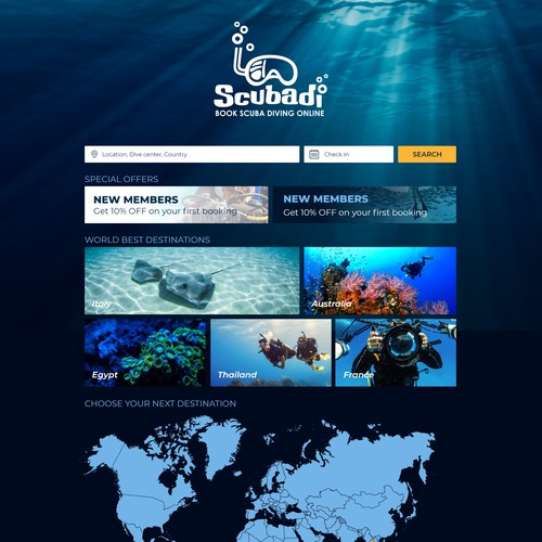 Custom website with the title 'Website for dive booking'