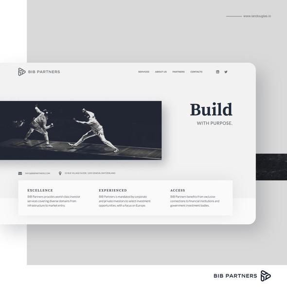 International design with the title 'Web design/development for BIB Partners'