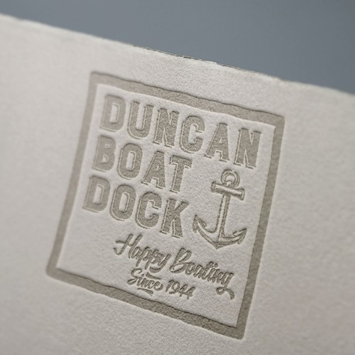 Boat brand with the title 'Vintage boat dock logo'