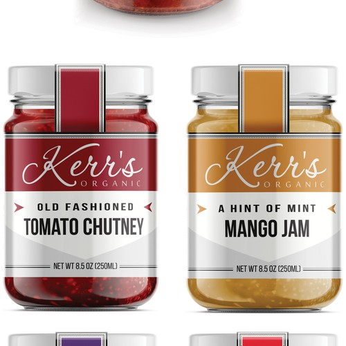 Jam design with the title 'Kerr's Organic Label'