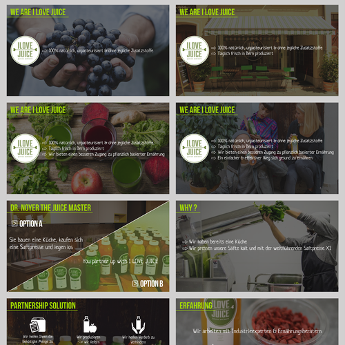 Pitch deck design with the title 'Juicing Bar Pitchdeck'