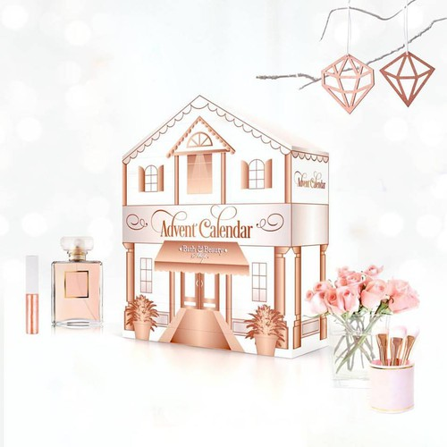 Pink packaging with the title 'Packaging Design & Structure - Advent Calendar'