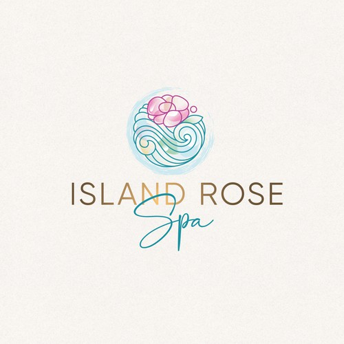 Abstract rose logo with the title 'Island Rose Logo'