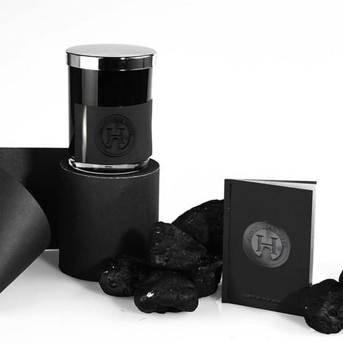 Logo packaging with the title 'candle packaging design'