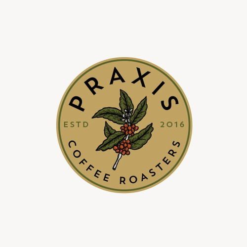 Artisan brand with the title 'Praxis Coffee Roaster Logo'