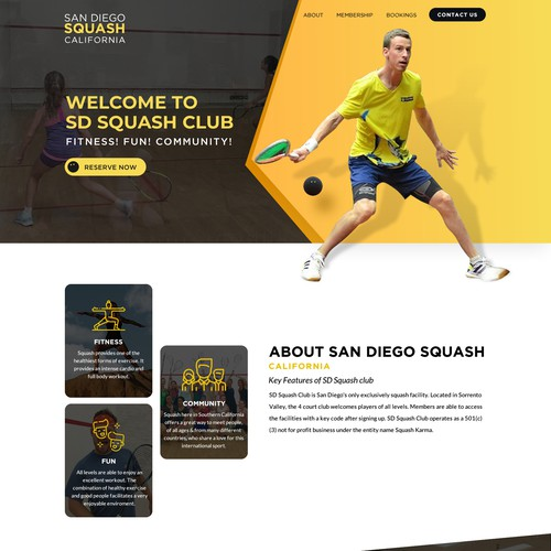 Responsive website with the title 'Unique great new website for Squash club'