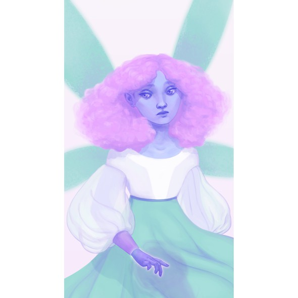 Pink and blue design with the title 'A Fairy'