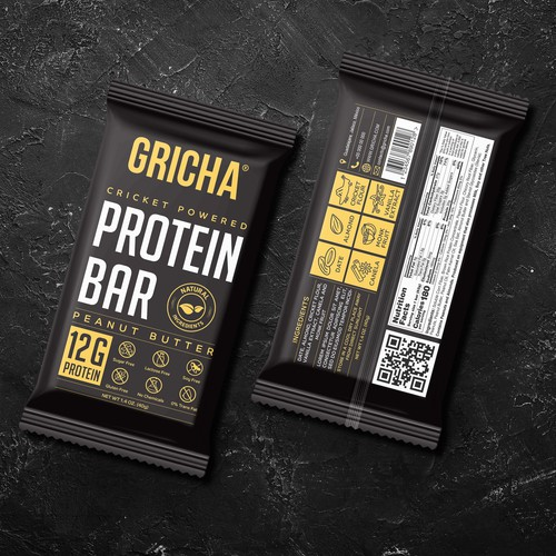 Brewery packaging with the title 'GRICHA Cricket Powered Protein Bar'