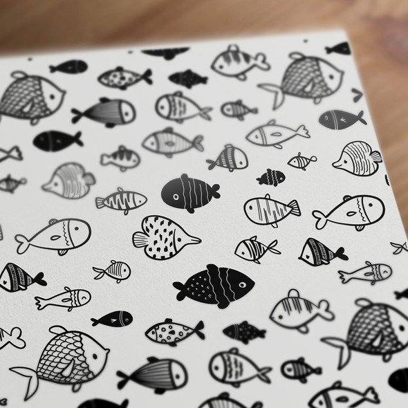 Seamless artwork with the title 'Seamless fish pattern'