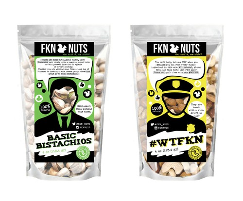 Nuts label with the title 'Package concept for nuts'