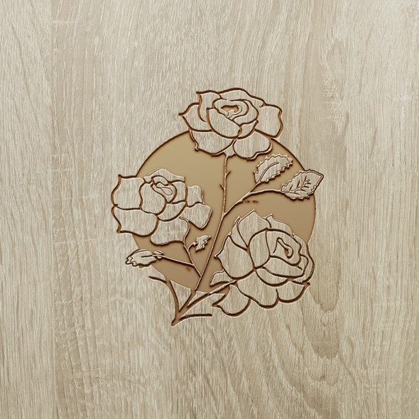 Wood artwork with the title 'flower'