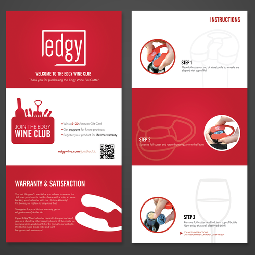 Insert design with the title 'Product Insert for wine accessories company'