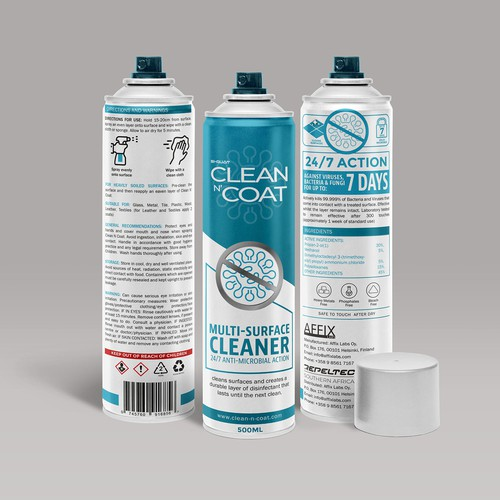 Spray bottle packaging with the title 'cleaning spry '