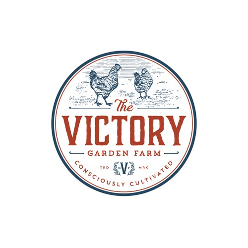 Rustic design with the title 'Vintage logo for The Victory garden farm'