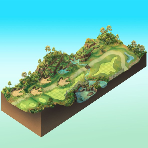 Footprint design with the title 'Dinosaur Themed Golf Course Concept'