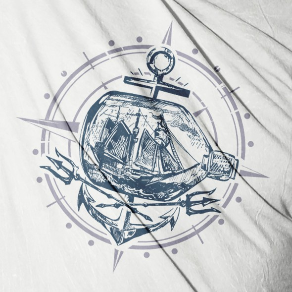Old school t-shirt with the title 'nautical tee shirt concept'