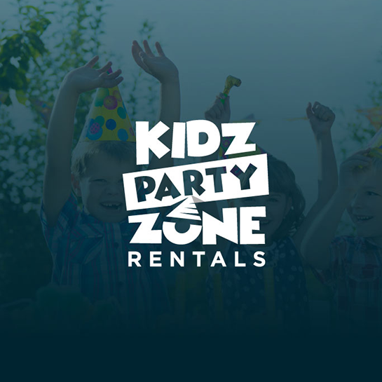 Zone logo with the title 'Logo for Kidz Party Zone Rentals'