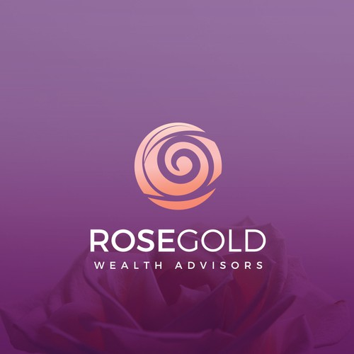 Stylized design with the title 'RoseGold Wealth Advisors Logo design'