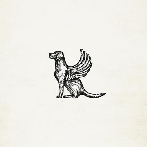 Dog artwork with the title 'Dog of Venice (winged dog) illustration/icon'