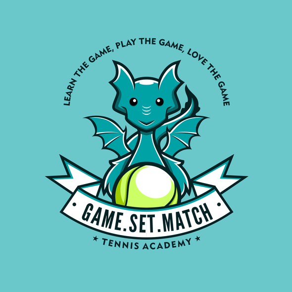 Tennis logo with the title 'Funny Dragon Character Logo'