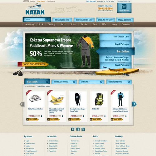 Retro website with the title 'Help KayakProShop.com with a new website design'