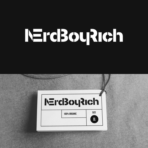 "Stencil logo with the title '""NerdBoyRich"" logotype'"