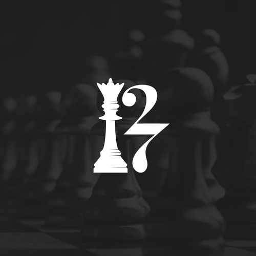 Chess logo with the title 'King chess piece and 27 forming the letter R'