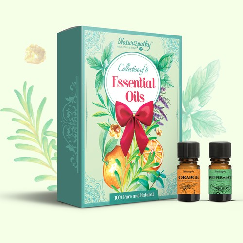Oil design with the title 'Essential oils gift packaging'
