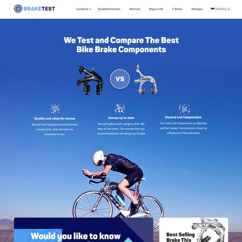 Bike design with the title 'Braketest.io complete Web design'